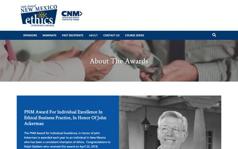 Screenshot of About Page ethicsinbusinessnm.com - About the Awards - New Mexico Ethics in Business Awards - captured Oct. 24, 2018