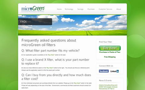 Screenshot of FAQ Page microgreenfilter.com - FAQs - microGreen Oil Filters - captured Sept. 17, 2014