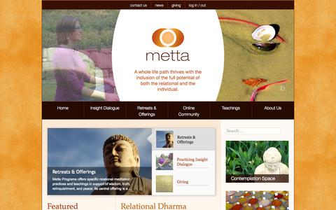 Screenshot of Home Page metta.org - Metta Programs - Insight Dialogue - captured Sept. 6, 2015