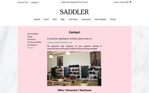 Screenshot of Contact Page saddler.com - Contact | Saddler.com - captured Sept. 23, 2014