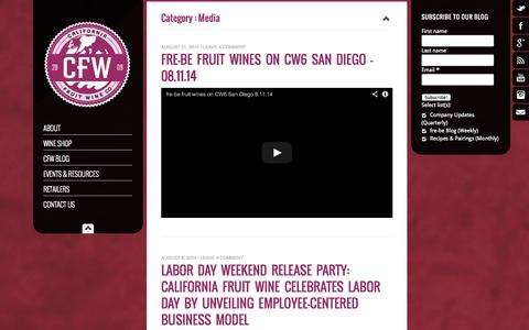 Screenshot of Press Page californiafruitwine.com - Media Archives - California Fruit Wine - captured Oct. 1, 2014
