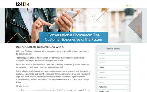 Screenshot of Landing Page 247.ai - Conversational Commerce: The Customer Experience of the Future - captured Nov. 26, 2018