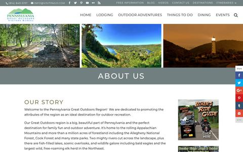 Screenshot of About Page visitpago.com - About Visit PA GO   Visiting the PA Great Outdoors - captured Sept. 27, 2018