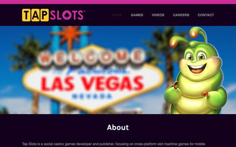 Screenshot of Home Page tapslots.com - About - Tap Slots | Developer of social casino games on mobile devices. - captured Dec. 11, 2019