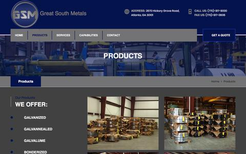 Screenshot of Products Page greatsouthmetals.com - Projects || GSM - captured Sept. 10, 2017