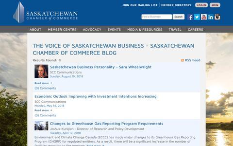 Screenshot of Blog saskchamber.com - The Voice of Saskatchewan Business - Saskatchewan Chamber of Commerce Blog - Saskatchewan Chamber of Commerce - captured Oct. 1, 2018