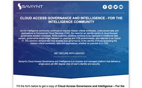 Screenshot of Landing Page saviynt.com - Cloud Access Governance and Intelligence - For the Intelligence Community - captured April 1, 2018