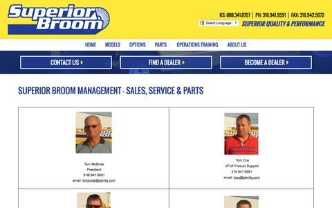 Screenshot of Team Page superiorbroom.com - Street Sweeper & Commercial Construction Site Broom Sales, Parts & Attachments, Kick Brooms or Side Cast Sweepers - captured April 25, 2016