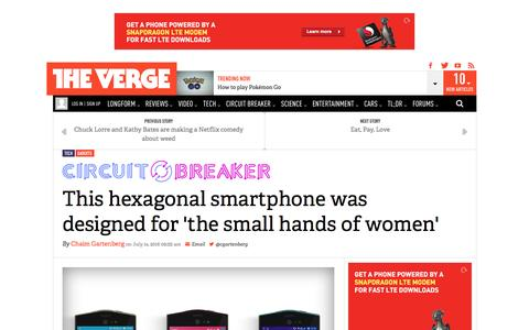 Screenshot of theverge.com - This hexagonal smartphone was designed for 'the small hands of women'   The Verge - captured July 15, 2016