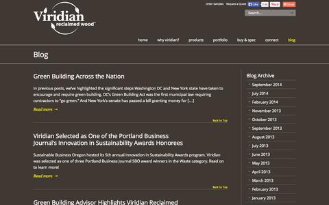 Screenshot of Blog viridianwood.com - Reclaimed Wood News and Events - Blog by Viridian Viridian Reclaimed Wood - captured Oct. 7, 2014