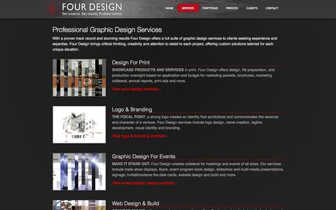 Screenshot of Services Page designfour.com - Four Design: Graphic Design Services - captured Feb. 10, 2016
