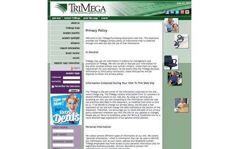 Screenshot of Privacy Page trimega.org - TriMega Purchasing Association - Privacy Policy - captured June 22, 2017