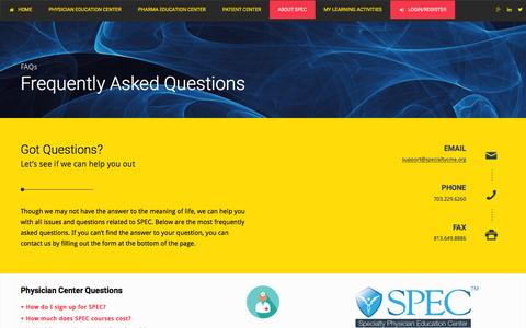 Screenshot of FAQ Page specialtycme.org - Frequently Asked Questions | SPEC - captured Feb. 15, 2016