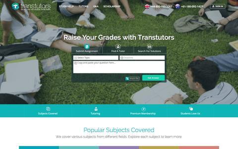 Screenshot of Home Page transtutors.com - 24/7 Homework Help, Homework Answers and Online Experts - Transtutors - captured Nov. 19, 2016