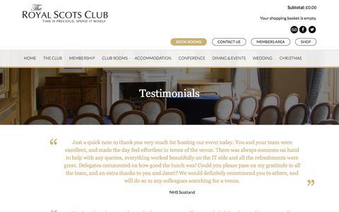 Screenshot of Testimonials Page royalscotsclub.com - Reviews, Testimonials of Corporate Facilities | Royal Scots Club, Edinburgh - captured Nov. 17, 2017