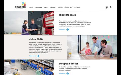 Screenshot of About Page docdata.com - Docdata - smart in e-commerce solutions: about us - captured Aug. 2, 2016