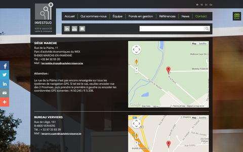 Screenshot of Contact Page investsud.be - Investsud - captured Oct. 4, 2014