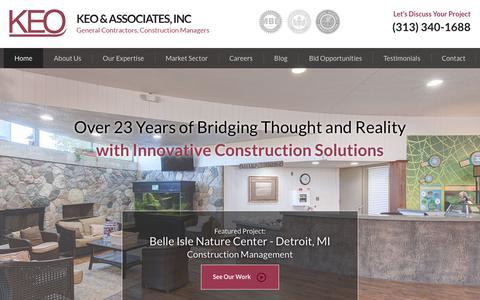 Screenshot of Home Page keoassoc.com - Michigan General Contractors & Construction Managers | KEO & Associates - captured Oct. 15, 2018