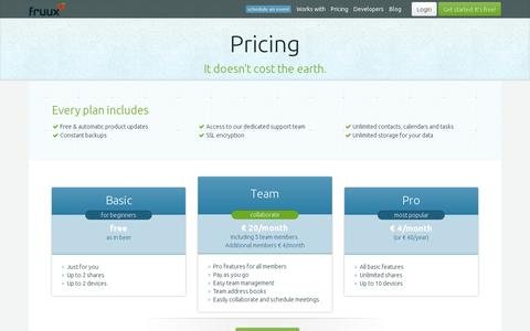 Screenshot of Pricing Page fruux.com - fruux | pricing - captured July 21, 2014