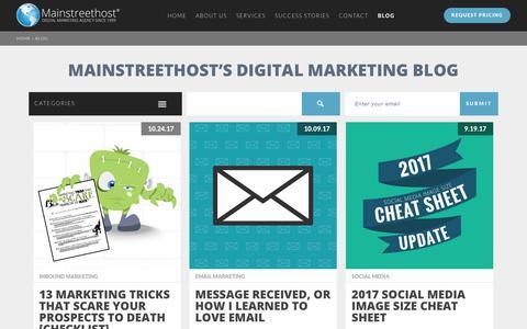 Screenshot of Blog mainstreethost.com - Mainstreethost's Digital Marketing Blog | Page 1 - captured Oct. 28, 2017