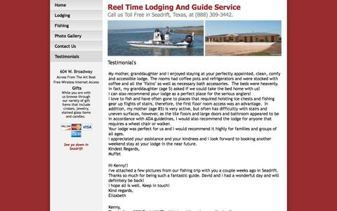 Screenshot of Testimonials Page reeltimelodging.com - Seadrift Bay Fishing Trips Lodging And Guide Service In Seadrift Texas - captured June 17, 2016