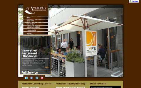 Screenshot of Home Page synergyconsultants.com - Restaurant Consultants: Branding, Menu, Design, Management, Branding, Consulting - captured Jan. 26, 2015
