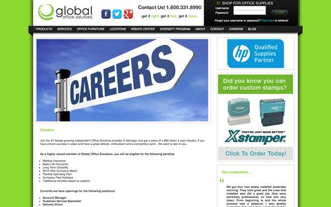 Screenshot of Jobs Page globalofficesolutions.com - Global Office Solutions - captured July 19, 2018