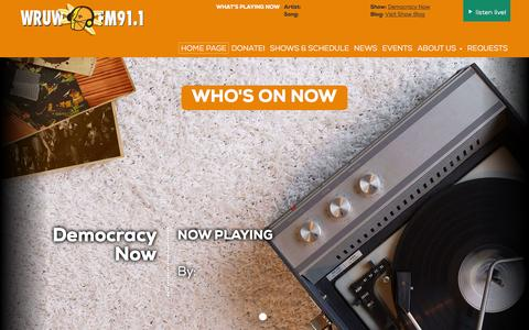 Screenshot of Home Page wruw.org - WRUW-FM, More Music, Fewer Hits, FM 91.1 Cleveland, OH - captured June 13, 2016