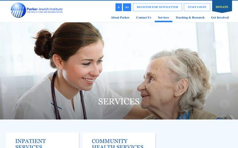 Screenshot of Services Page parkerinstitute.org - Services - Parker Jewish Institute for Health Care and Rehabilitation - captured July 14, 2017