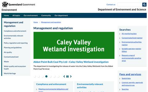 Screenshot of Team Page ehp.qld.gov.au - Management and regulation (Department of Environment and Science) - captured Oct. 8, 2018