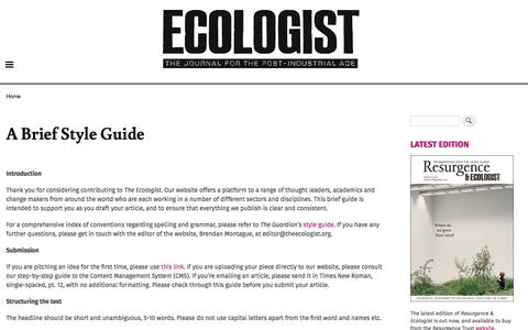Screenshot of FAQ Page theecologist.org - A Brief Style Guide | The Ecologist - captured Jan. 3, 2020