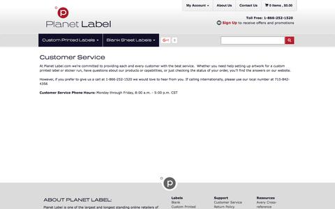Screenshot of Support Page planetlabel.com - Customer Service & Support for Custom Printed Labels or Label Sheets at Planet Label - captured July 13, 2016