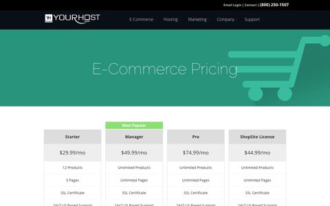 Screenshot of Pricing Page yourhost.com - E-Commerce Pricing - YourHost.com - captured Oct. 7, 2014