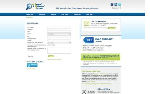 Screenshot of Contact Page gms-hvac.com - Contact Us - captured Oct. 2, 2014