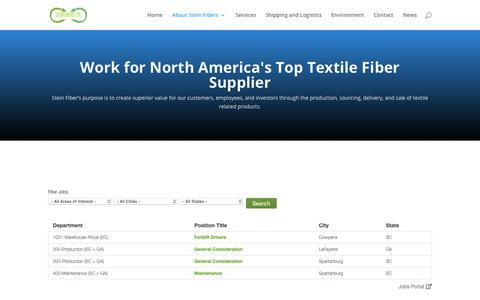Screenshot of Jobs Page steinfibers.com - Careers - Stein Fibers: Work for America's Top Textile Fiber Supplier - captured Nov. 14, 2018