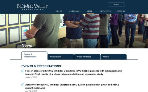 Screenshot of Press Page biomed-valley.com - News - BioMed Valley Discoveries, Inc. - captured Aug. 13, 2017