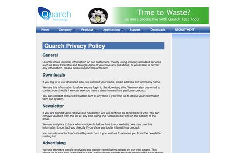 Screenshot of Privacy Page quarch.com - Contact information for Quarch Technology - captured Oct. 3, 2014