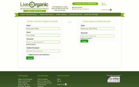 Screenshot of Signup Page Login Page liveorganic.co.in - LiveOrganic.co.in : Organic Food & Beverages | Fresh Produce | Diabetics n Gluten Free | Herbs n Herbal | Personal n Skin Care | Organic Clothing - captured Oct. 22, 2014