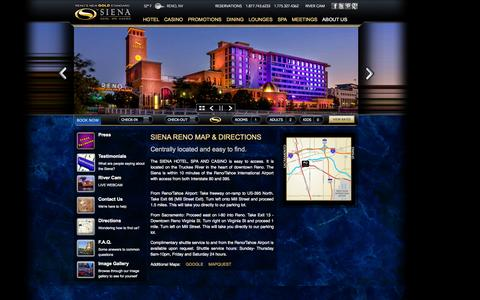 Screenshot of Maps & Directions Page sienareno.com - Siena Hotel Spa Casino | Find the Siena Reno Location, Directions - captured Oct. 1, 2014