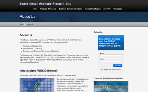 Screenshot of About Page frontrangesupportservices.com - About Us | Front Range Support Services - captured Sept. 30, 2014
