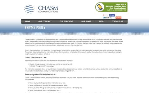 Screenshot of Privacy Page chasmcommunications.com - Privacy Policy | Chasm Communications, Inc. - captured Oct. 2, 2014