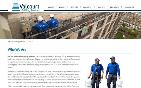 Screenshot of About Page valcourt.net - About | Valcourt Building Services - captured Feb. 13, 2016