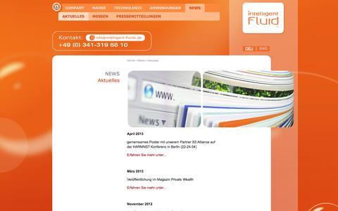 Screenshot of Press Page intelligent-fluids.de - Intelligent Fluids: Aktuelles - captured Sept. 12, 2014
