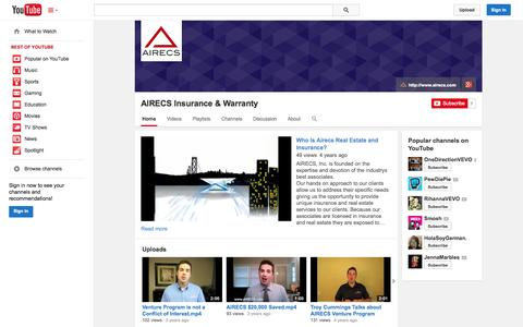 Screenshot of YouTube Page youtube.com - AIRECS Insurance & Warranty  - YouTube - captured Oct. 23, 2014
