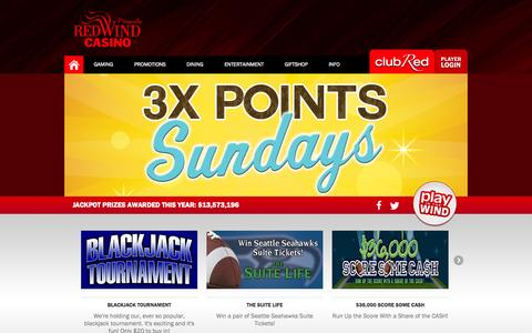 Screenshot of Home Page redwindcasino.com - Red Wind Casino | Olympia, WA  | The premier gaming and entertainment venue. - captured Sept. 19, 2014