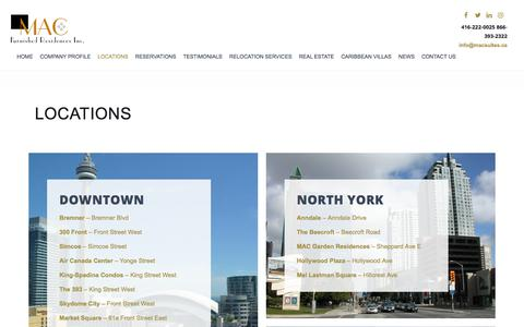 Screenshot of Locations Page macsuites.ca - Locations - MAC Furnished Residences Inc.MAC Furnished Residences Inc. - captured Sept. 28, 2017