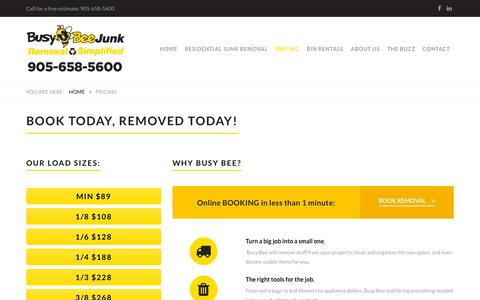 Screenshot of Pricing Page busybeejunk.com - Pricing | Busy Bee Junk Removal - captured Nov. 20, 2015