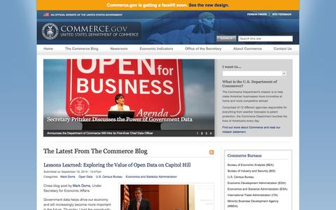 Screenshot of Home Page commerce.gov - Department of Commerce - captured Sept. 18, 2014