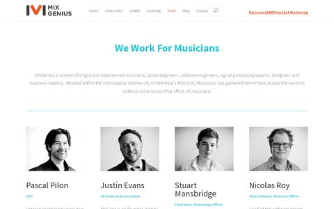 Screenshot of Team Page mixgenius.com - Meet the Team Behind the Intelligent Audio Technology - MixGenius - captured July 19, 2014