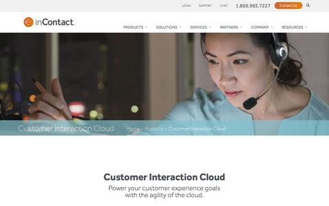 Screenshot of Products Page incontact.com - Customer Interaction Cloud - captured March 31, 2016
